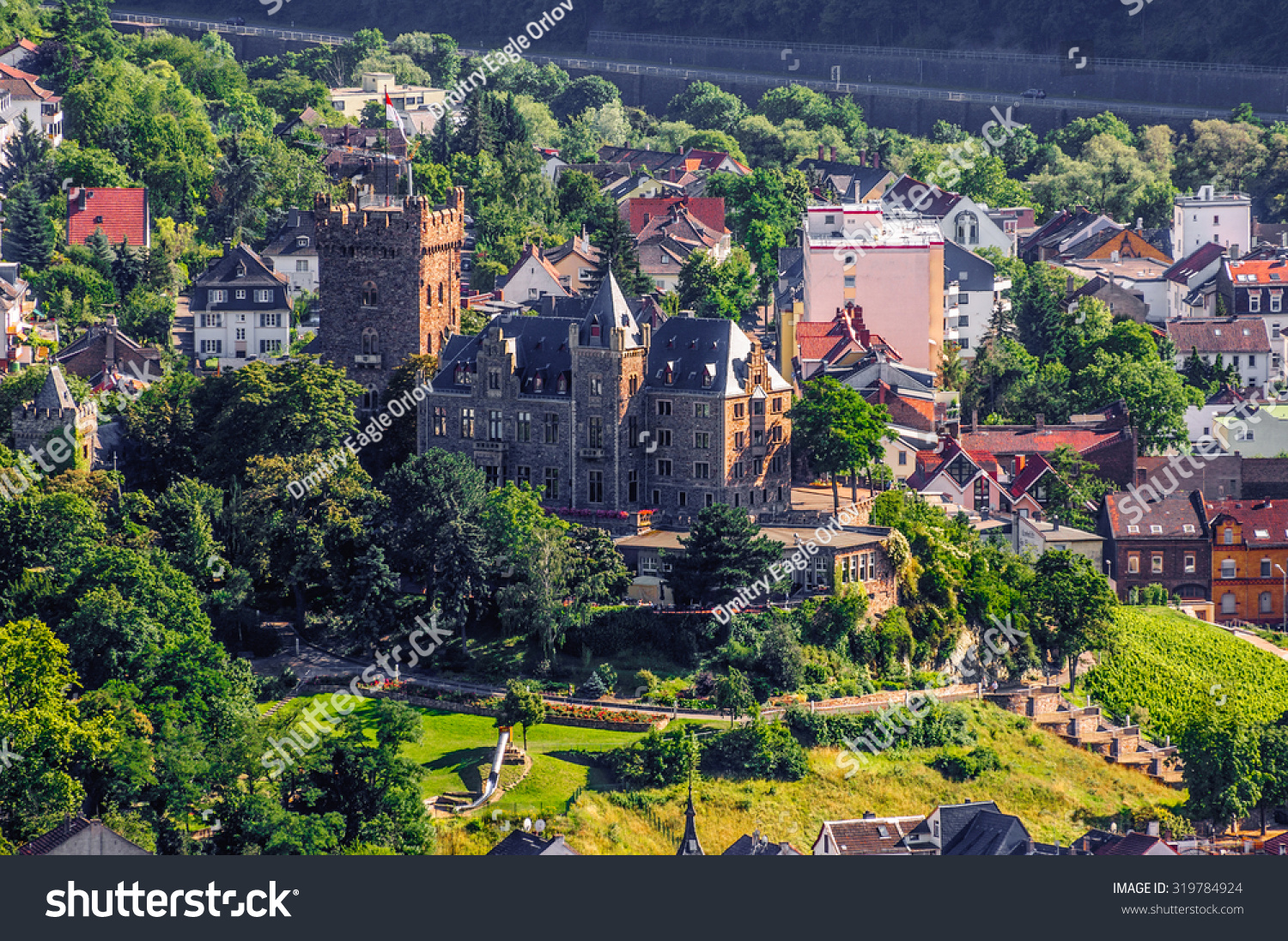 Wochenmarkt The Pfalz and Rhine Terrace, Klopp Castle Bingen Rhein Rheinlandpfalz Germany Stock Photo ...