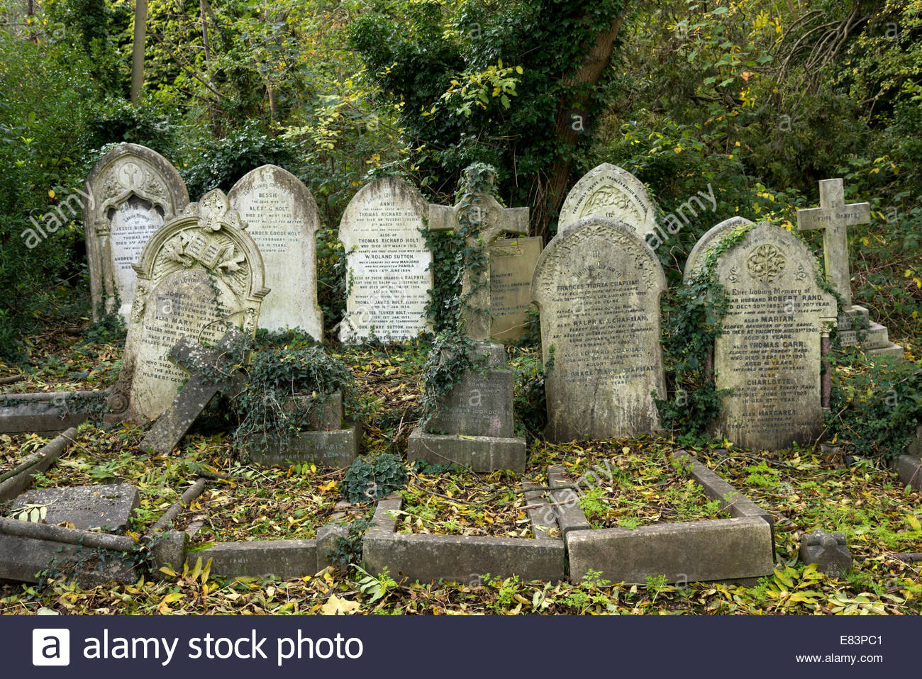 Highgate Cemetery London, Old tombstones in Highgate Cemetery, London, England, UK Stock ...