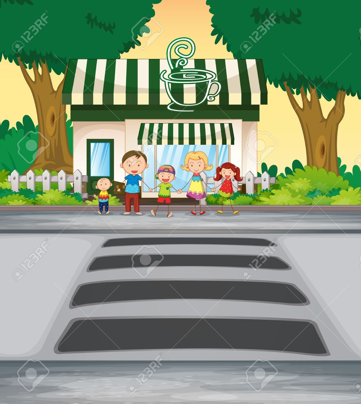 Hilltop Coffee House & Family Center Americas, Illustration Family Crossing Road Near Coffee Shop Royalty Free ...