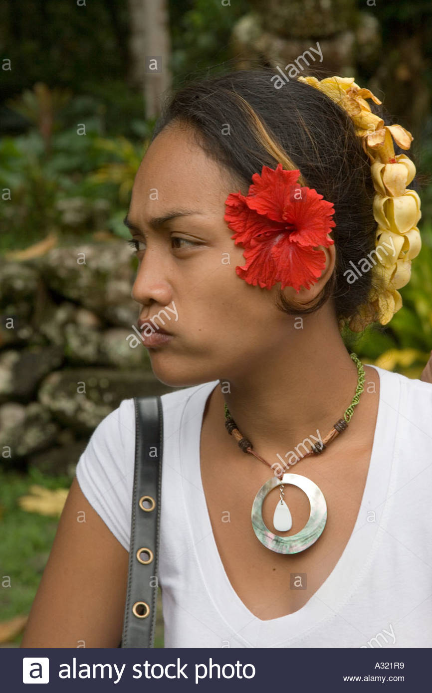 Iipona Puamau, Woman at Meae Iipona Puamau Hiva Oa Marquesas Islands French Stock ...