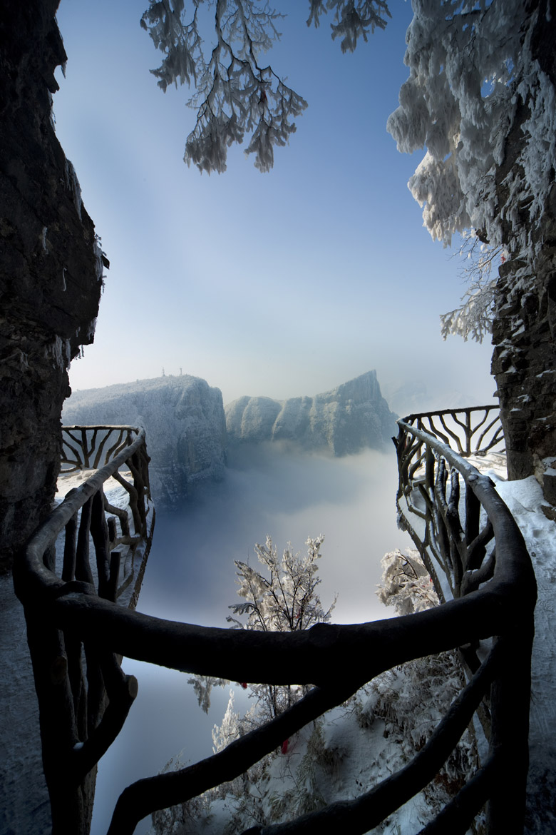 "Jiēyǐn Monastery Éméi Shān, Snow on Tianmen Mountain Description from Wiki: ""Tianmen Mountain ..."