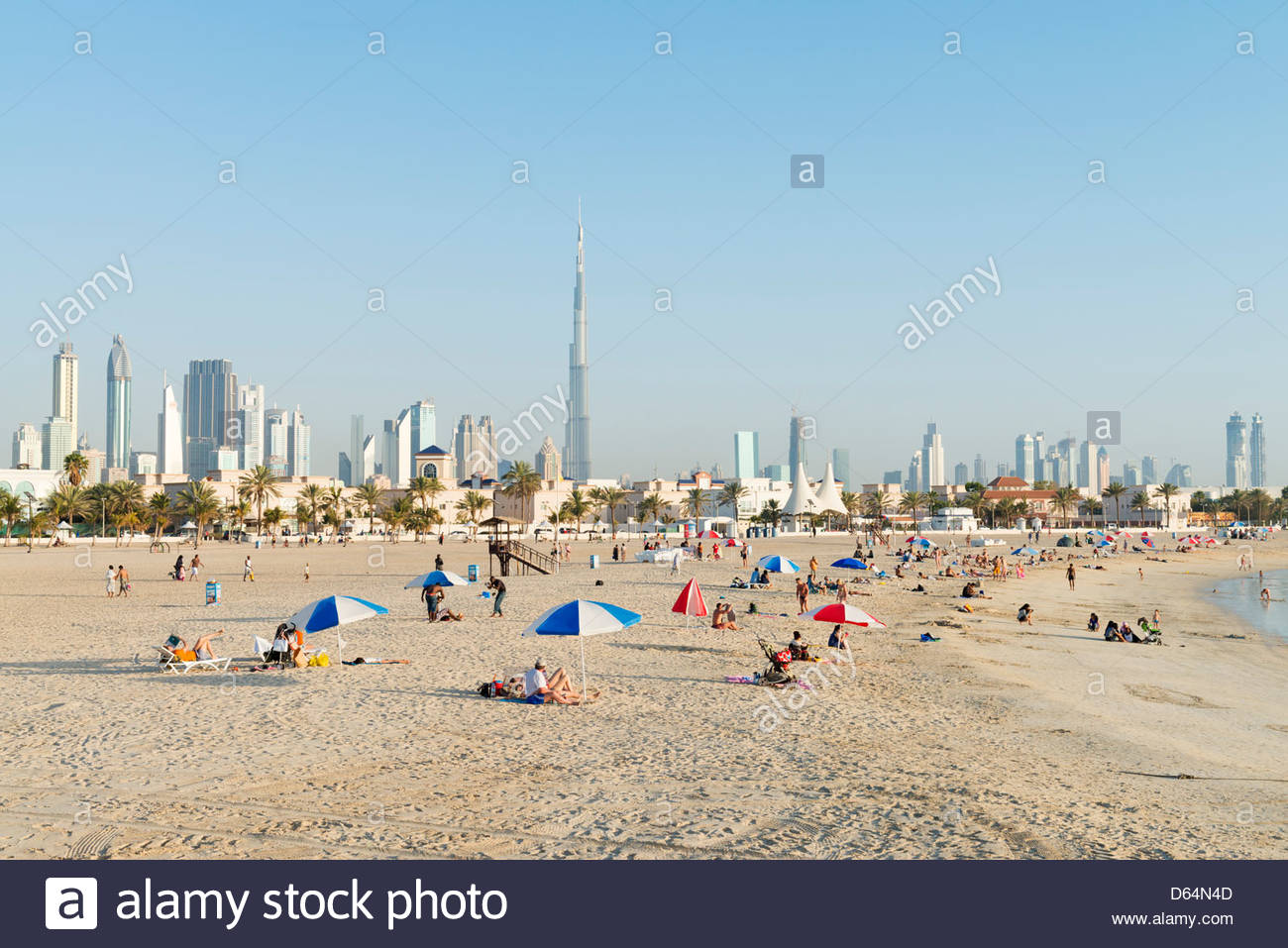 Jumeirah Open Beach Dubai, View of modern skyline of Dubai from Jumeirah Open public Beach in ...