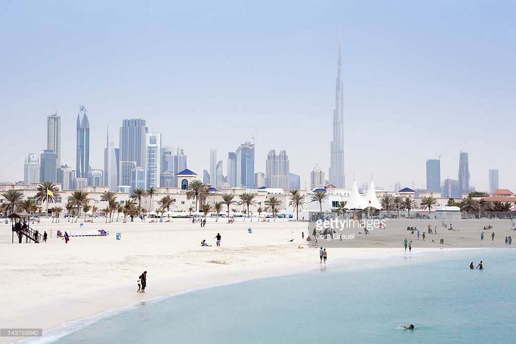 Jumeirah Open Beach Dubai, Dubai Skyline And Jumeirah Open Beach Stock Photo | Getty Images