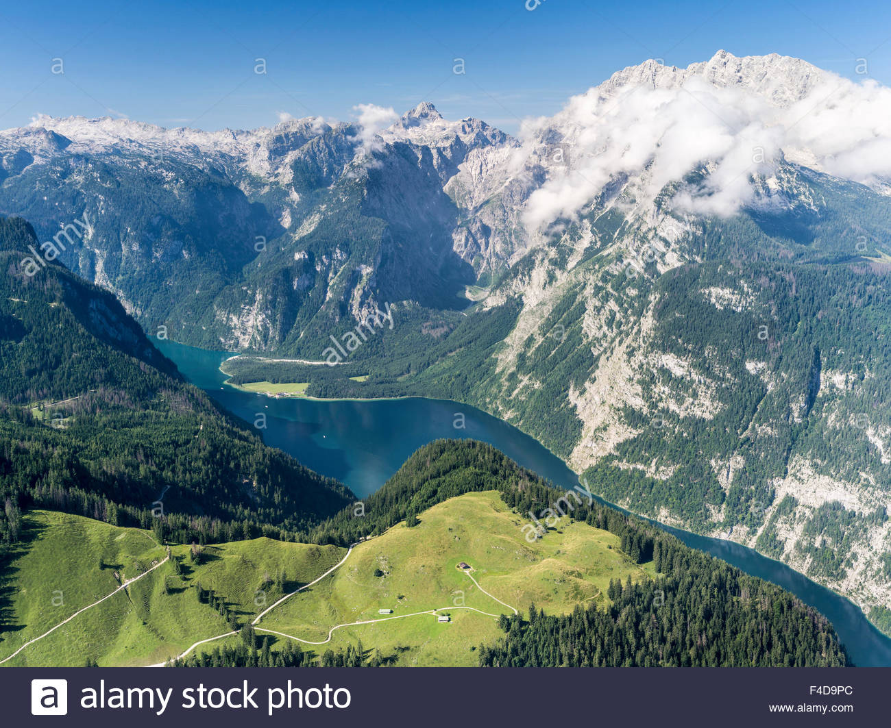 Königssee The Bavarian Alps, Berchtesgaden Alps, view from Mt. Jenner towards lake Koenigsee ...