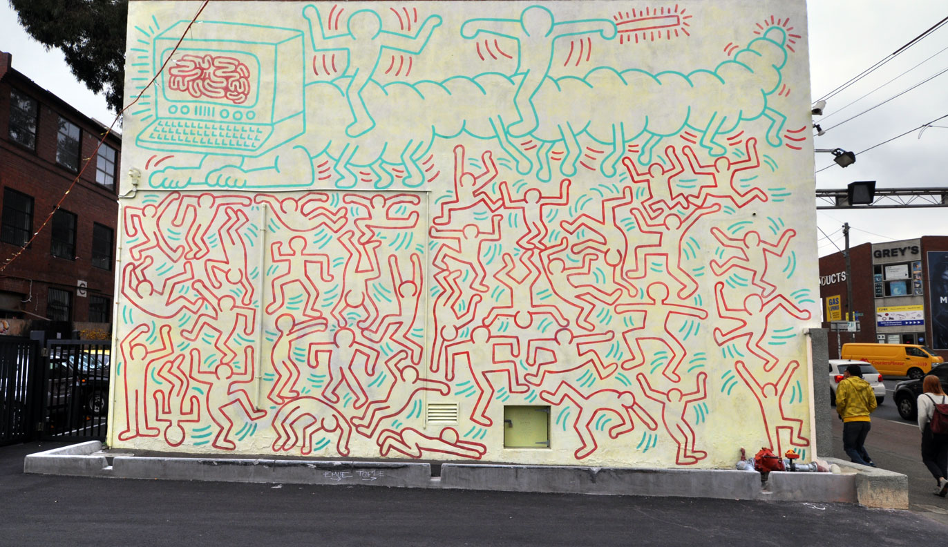 Keith Haring Mural Melbourne, keith haring | graffiti | street art | mural | all those shapes