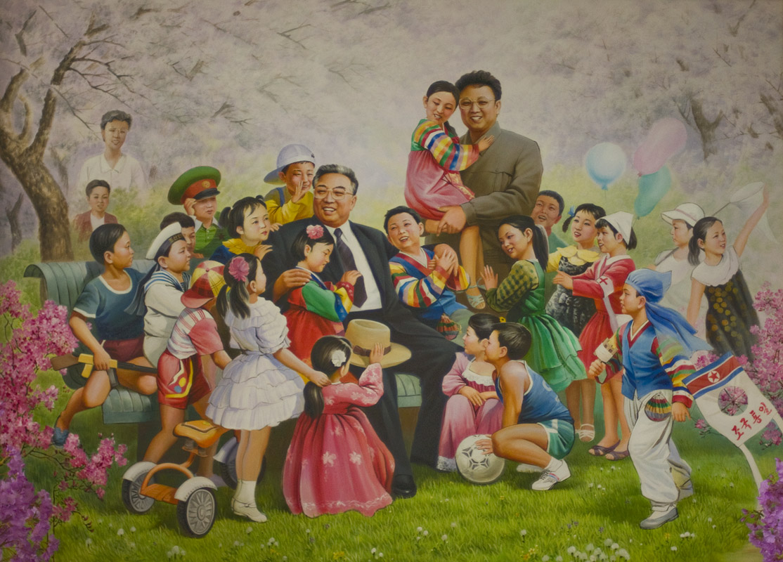 Kim Il-sung Mural Pyongyang, Mural with Great Leader Kim Il Sung and Dear Leader Kim Jong Il ...