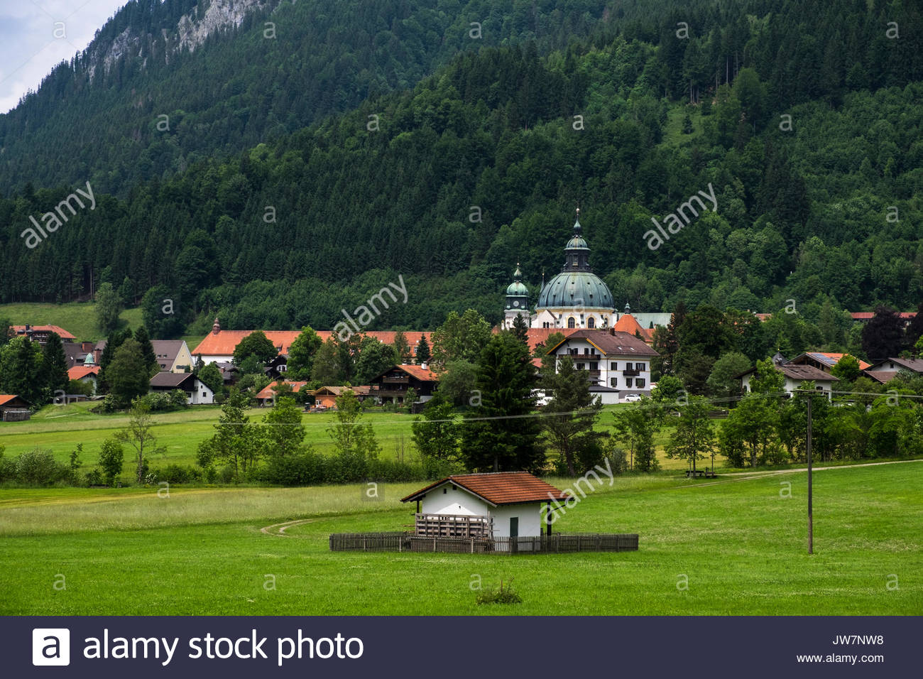 Kloster Ettal The Bavarian Alps, Monastery, Kloster Ettal, in a valley surrounded by forests ...
