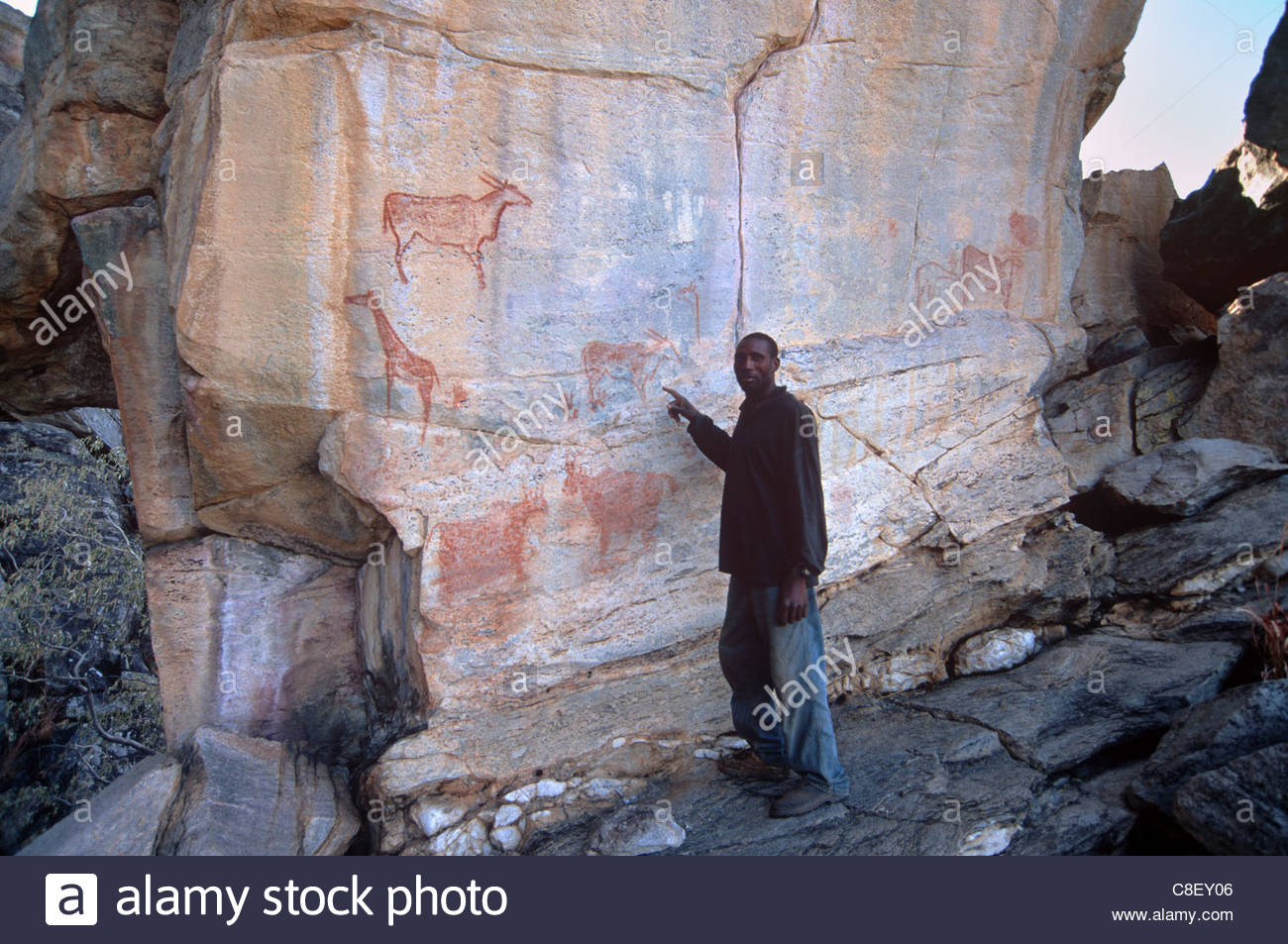 Laurens van der Post's Panel Tsodilo Hills, Hambukushu guide, Laurens Van der Post panel of rock art, Tsodilo ...