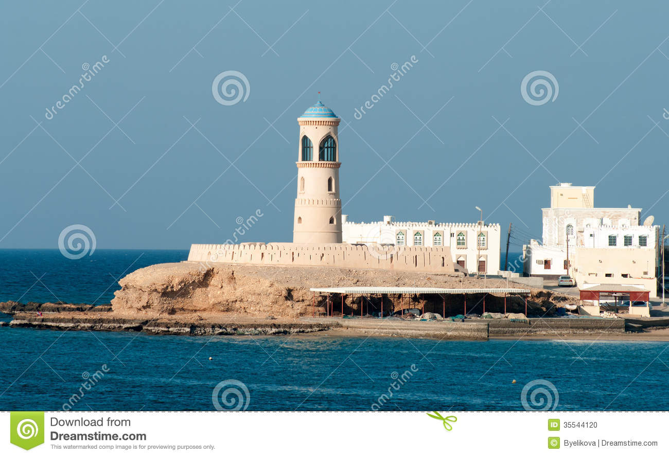 Lighthouse Sur, Lighthouse at Sur in Oman. stock photo. Image of ship - 35544120