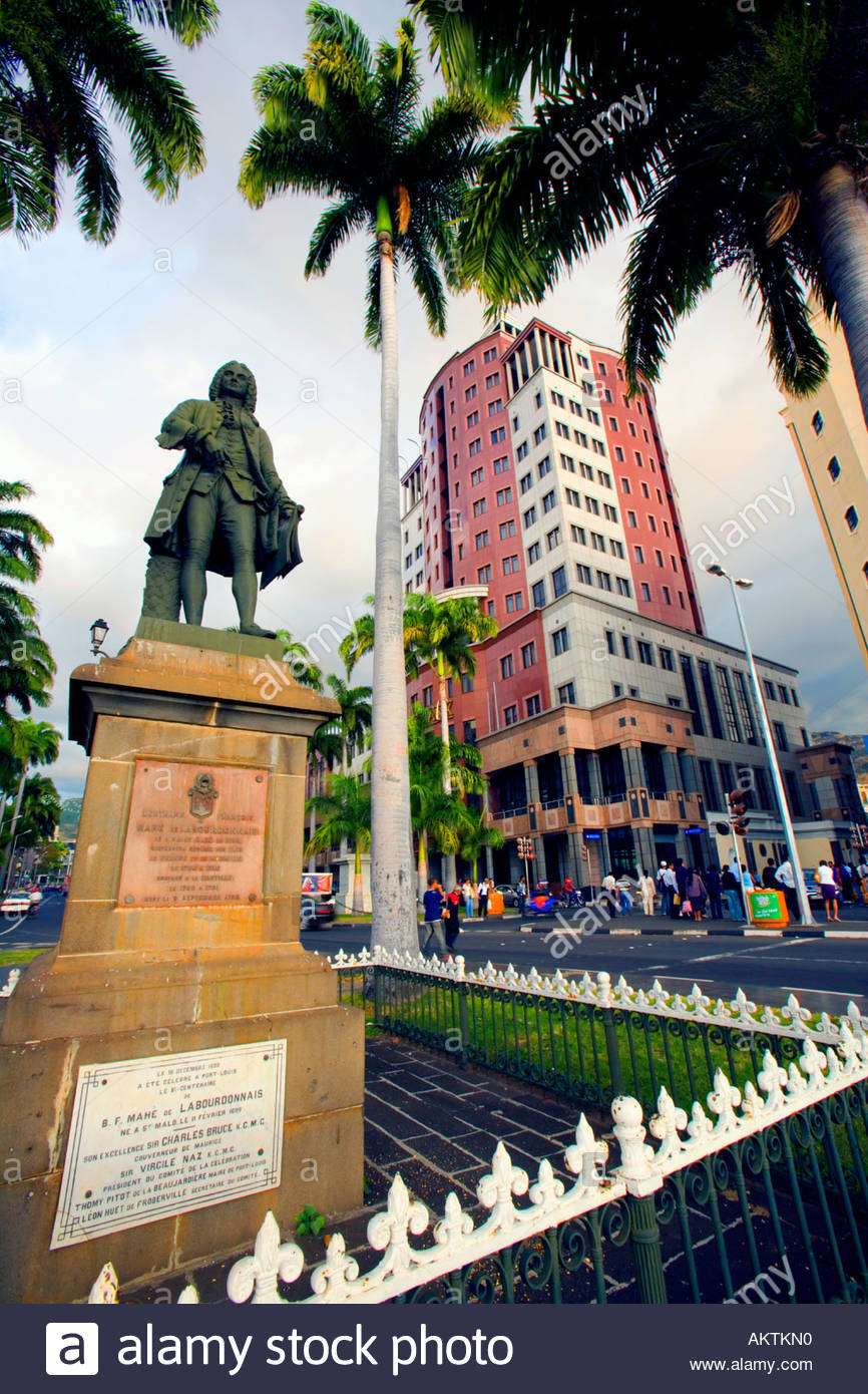 Mahé de Labourdonnais Statue Port Louis, Statue of Bertrand François Mahé de Labourdonnais, with State Bank ...