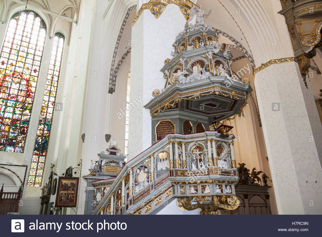 Marienkirche Rostock, The pulpit, St Mary's Church, Marienkirche, Rostock Stock Photo ...