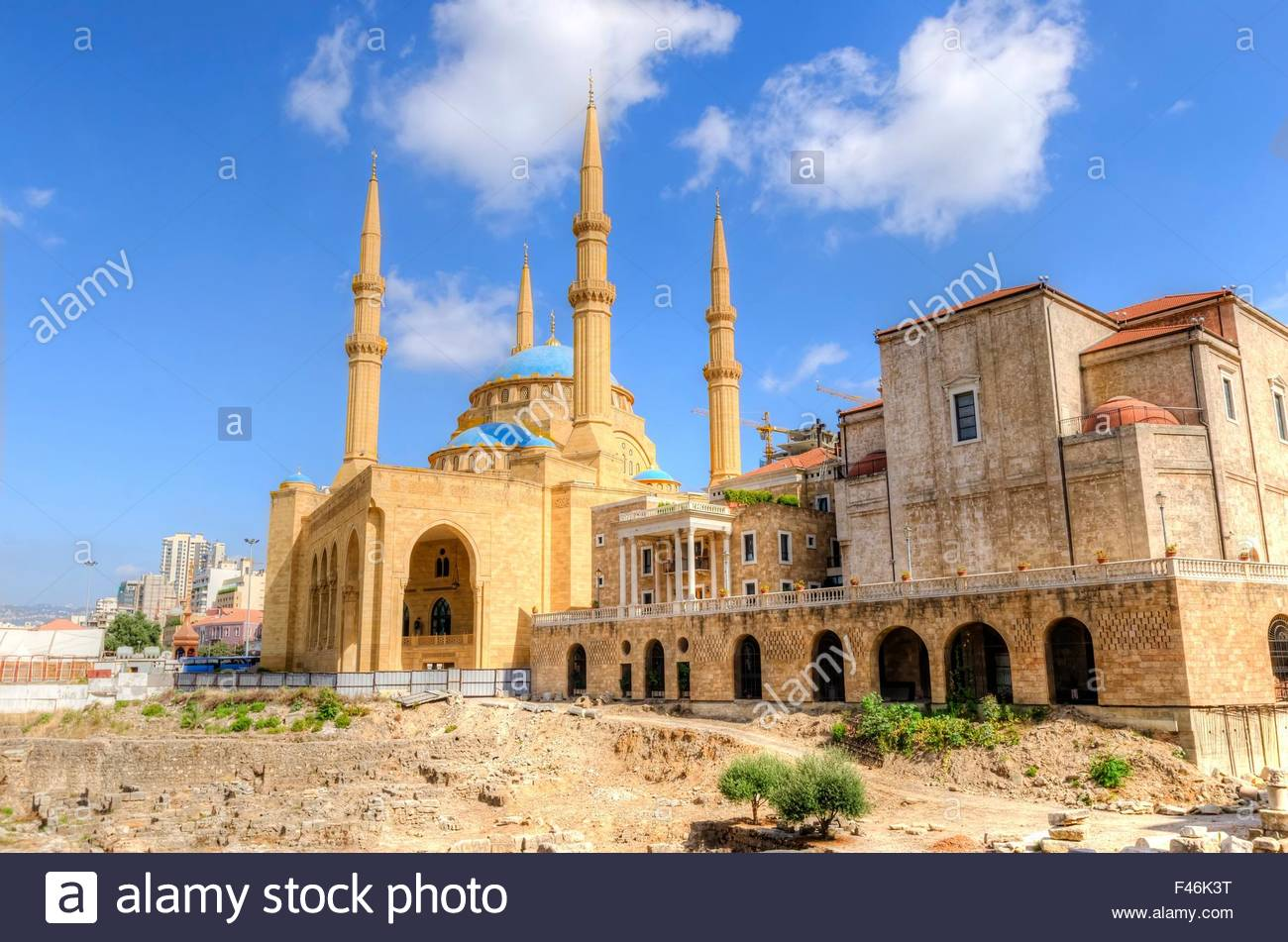 St George Crypt Museum Beirut, A view of the Saint George Maronite Cathedral and the Mohammad ...