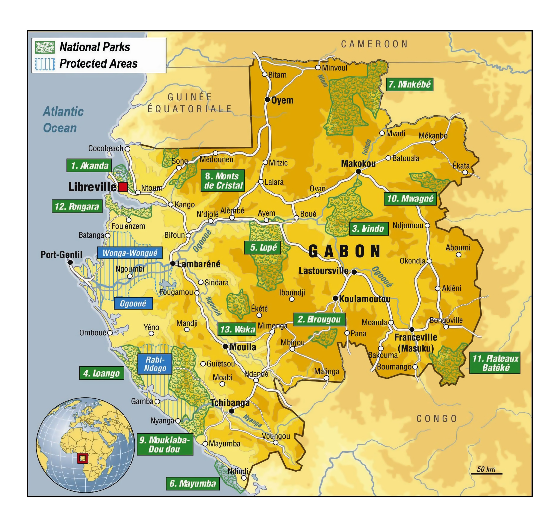 Mayumba National Park West Africa, Large detailed national parks map of Gabon | Gabon | Africa ...