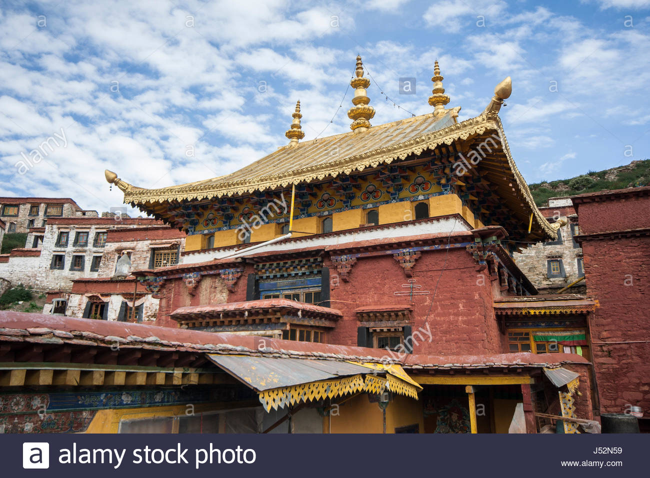 Military Museum of the Chinese People's Revolutions Beijing, Golden roof and pinnacles of Ganden Monastery, Lhasa, Tibet, shot ...