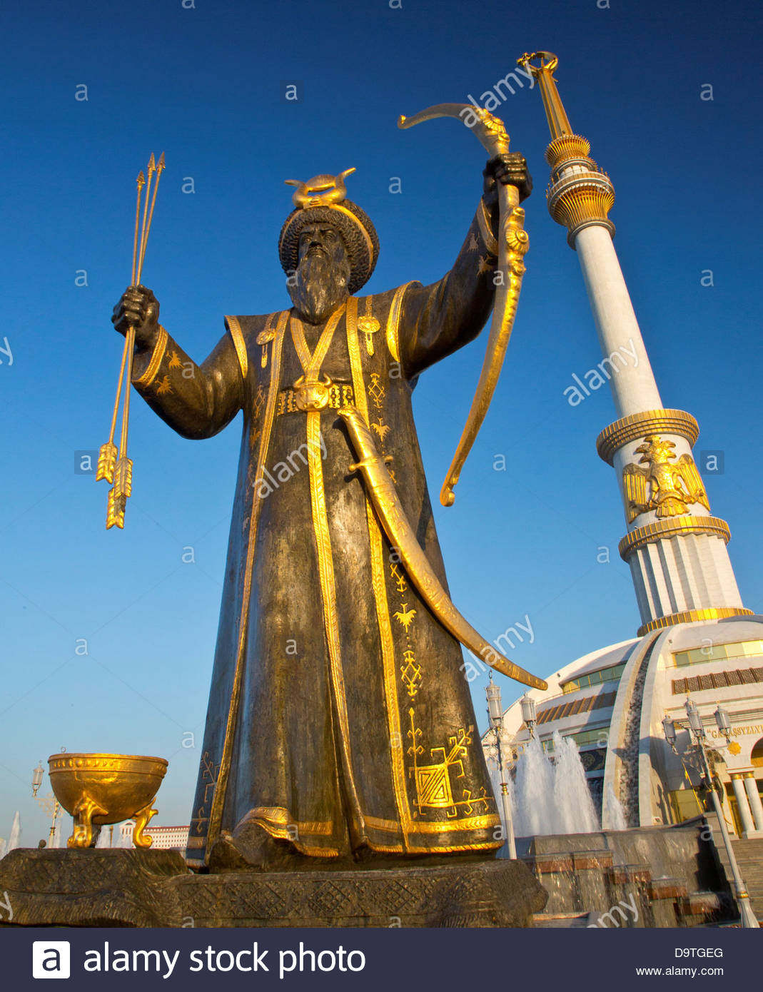 Monument to the Independence of Turkmenistan Ashgabat, Turkmenistan, Ashgabat, Hero statue at Ashgabat independence ...