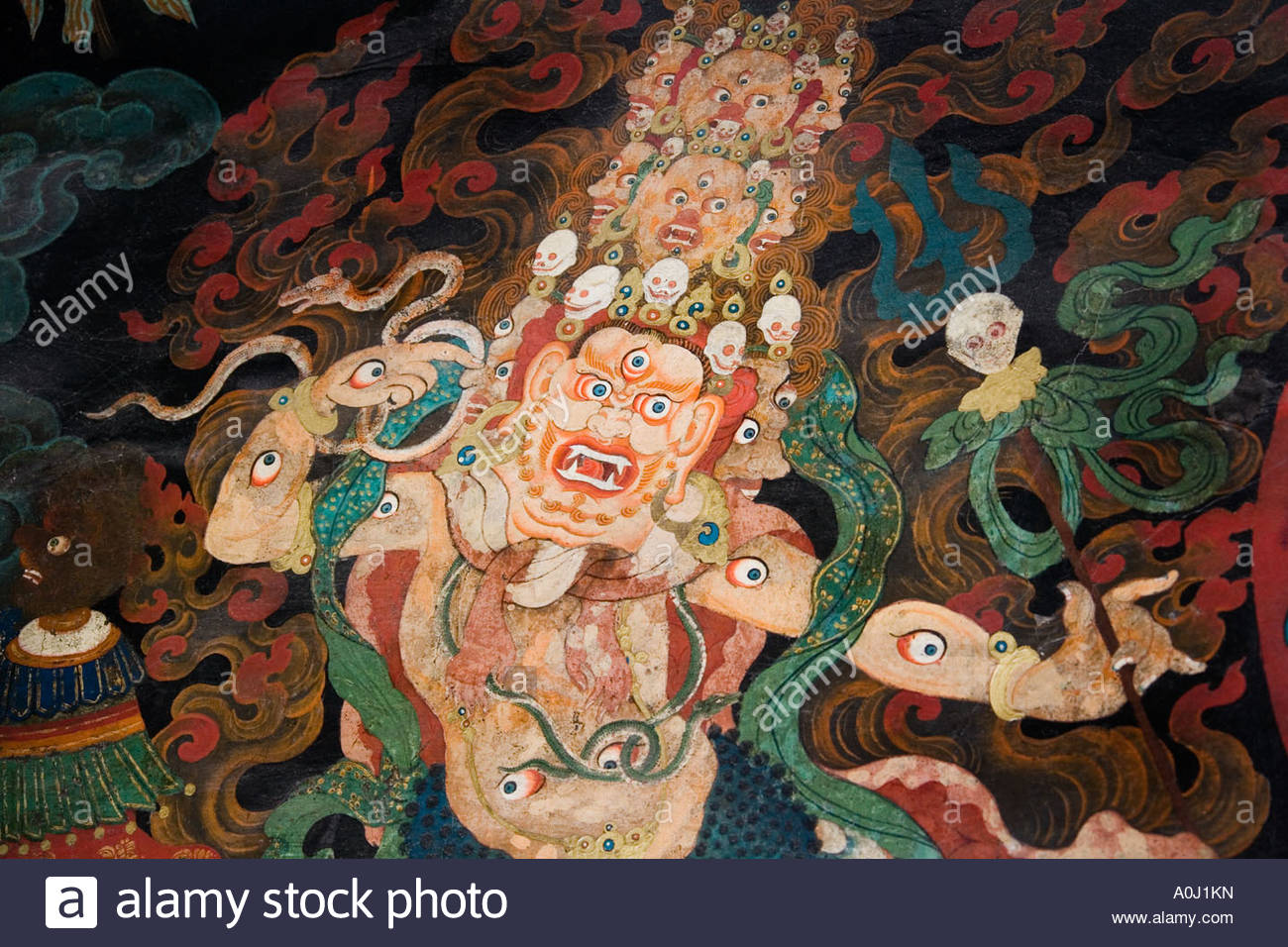 Museum of Antique Currency Beijing, Buddhist religious wall paintings in Nechung Monastery near Lhasa ...