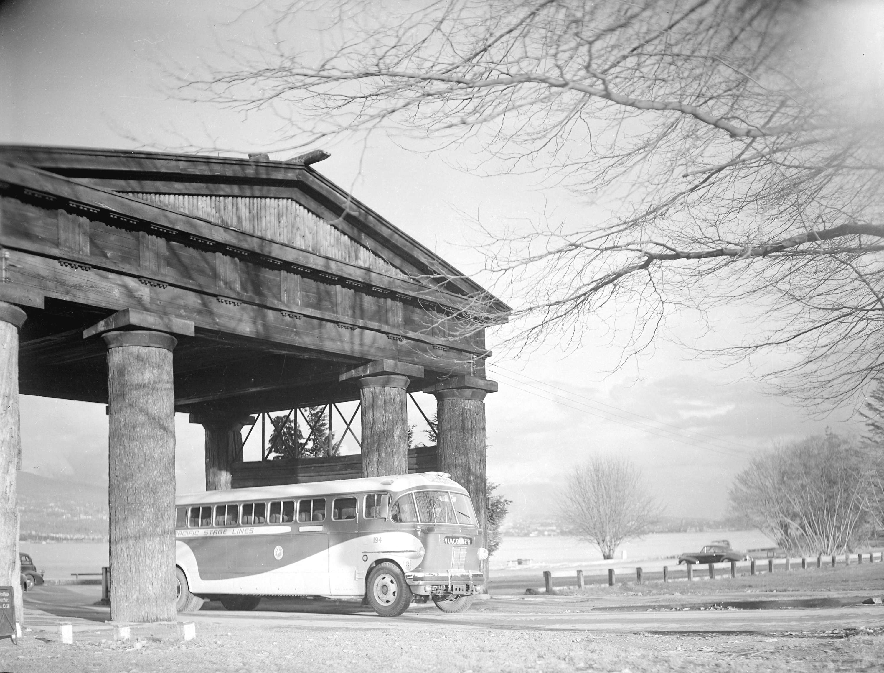 Museum of Vancouver Vancouver, New Pacific Stage bus [under Lumberman's Arch] - City of Vancouver ...