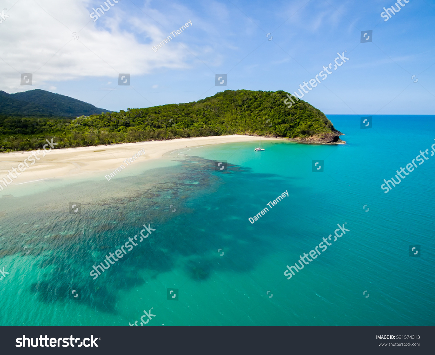 Myall Beach Cape Tribulation, Aerial View Myall Beach Cape Tribulation Stock Photo 591574313 ...