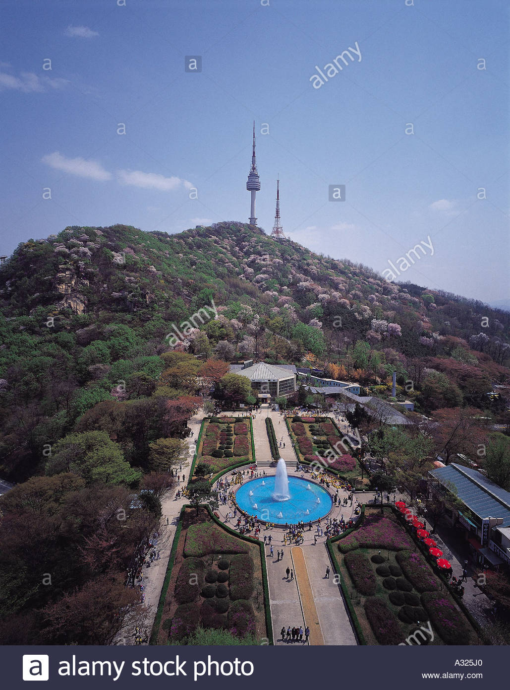 Namsan Outdoor Botanical Garden Seoul, A top-down view of the Namsan Botanical Garden in Seoul Stock ...