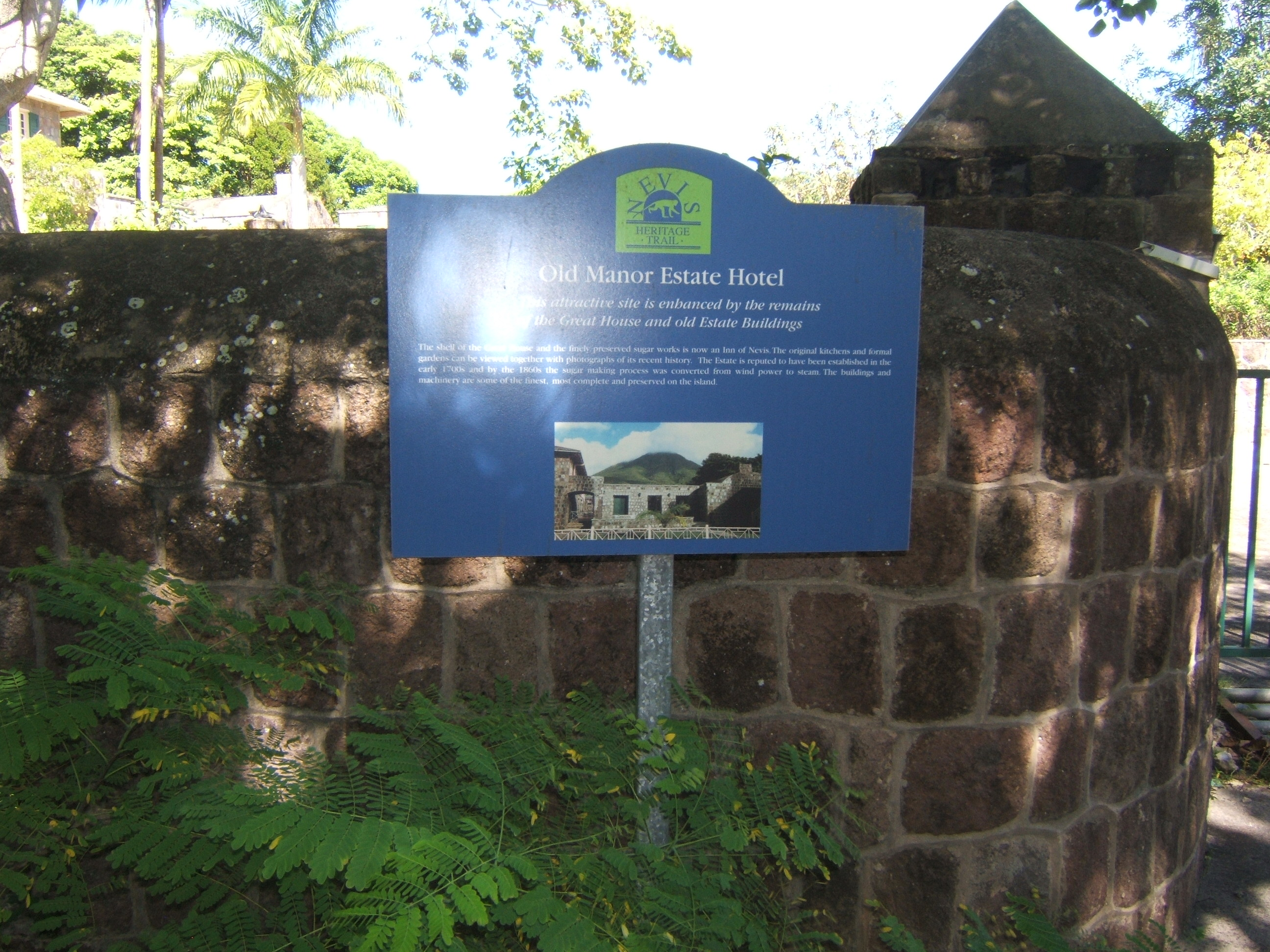 Nevisian Heritage Village South Nevis, Old Manor Estate hotel sign in Nevis. Wonderful old buildings with ...