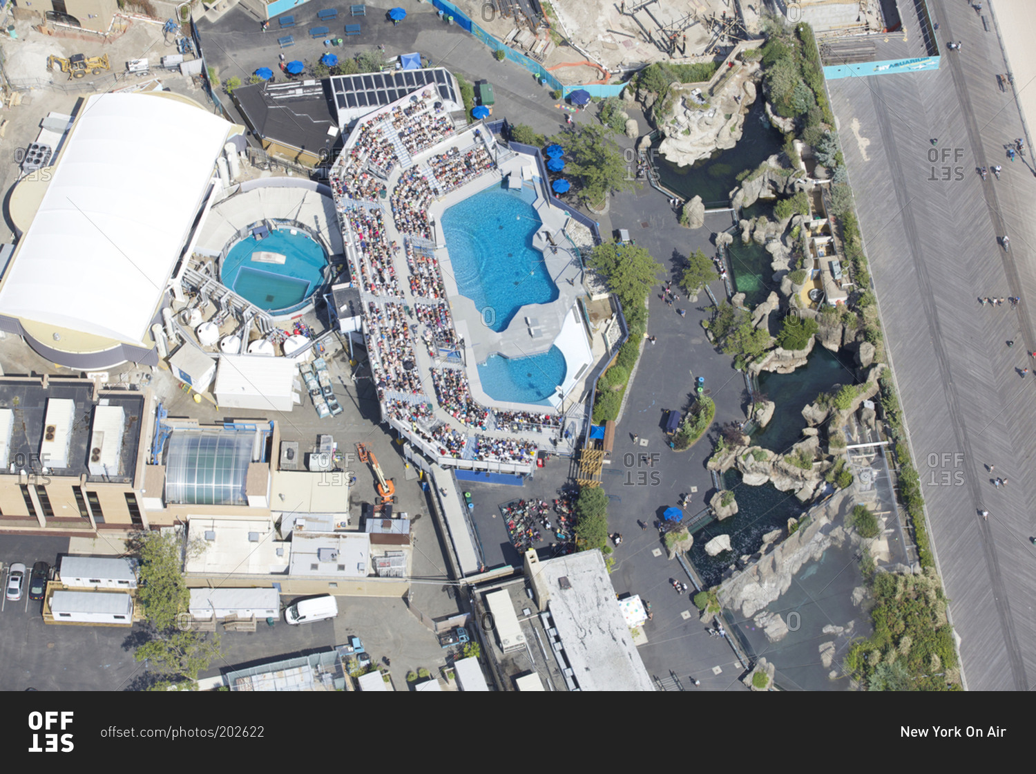 New York Hall of Science New York City, March 19, 2015: Aerial view of the New York Aquarium in Coney ...