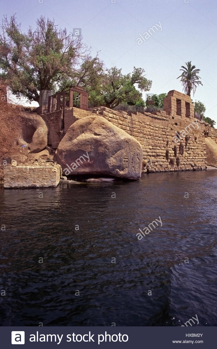 Nilometer of Khnum Aswan, Elephantine River Nile Nilometer riverside Aswan Egyptian water ...