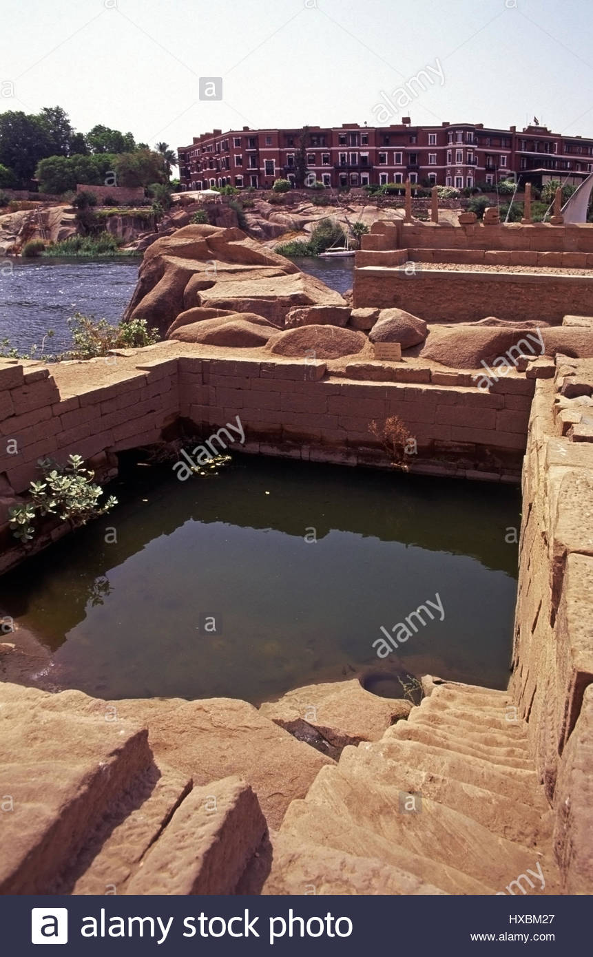 Nilometer of Satet Aswan, Elephantine Aswan Nilometer Cataract Hotel steps stone Nile river ...