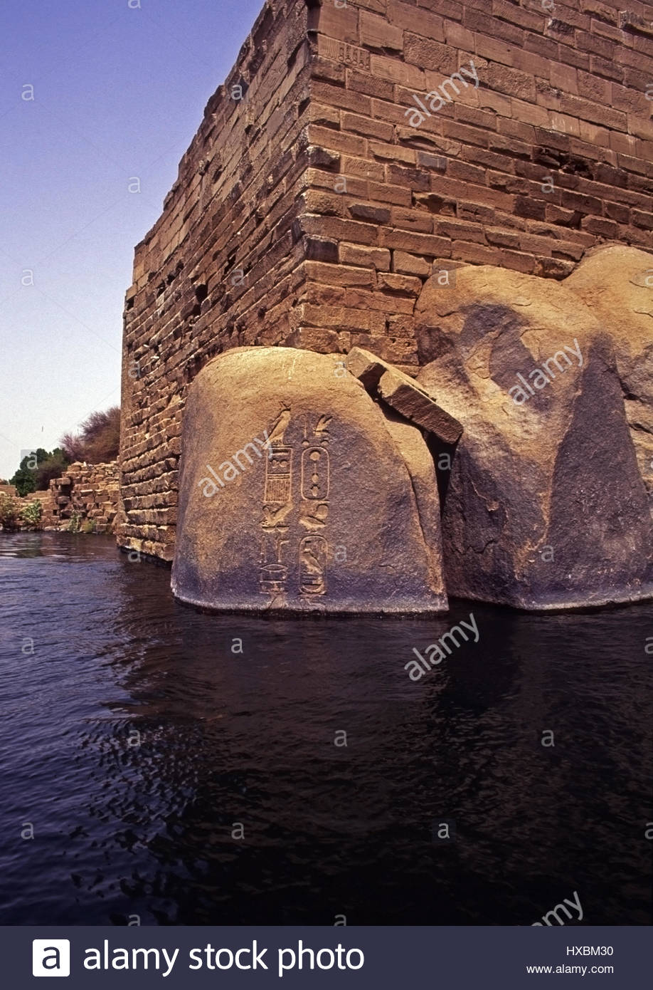Nilometer of Satet Aswan, Elephantine Island Aswan Egypt Nilometer boulders carvings ...