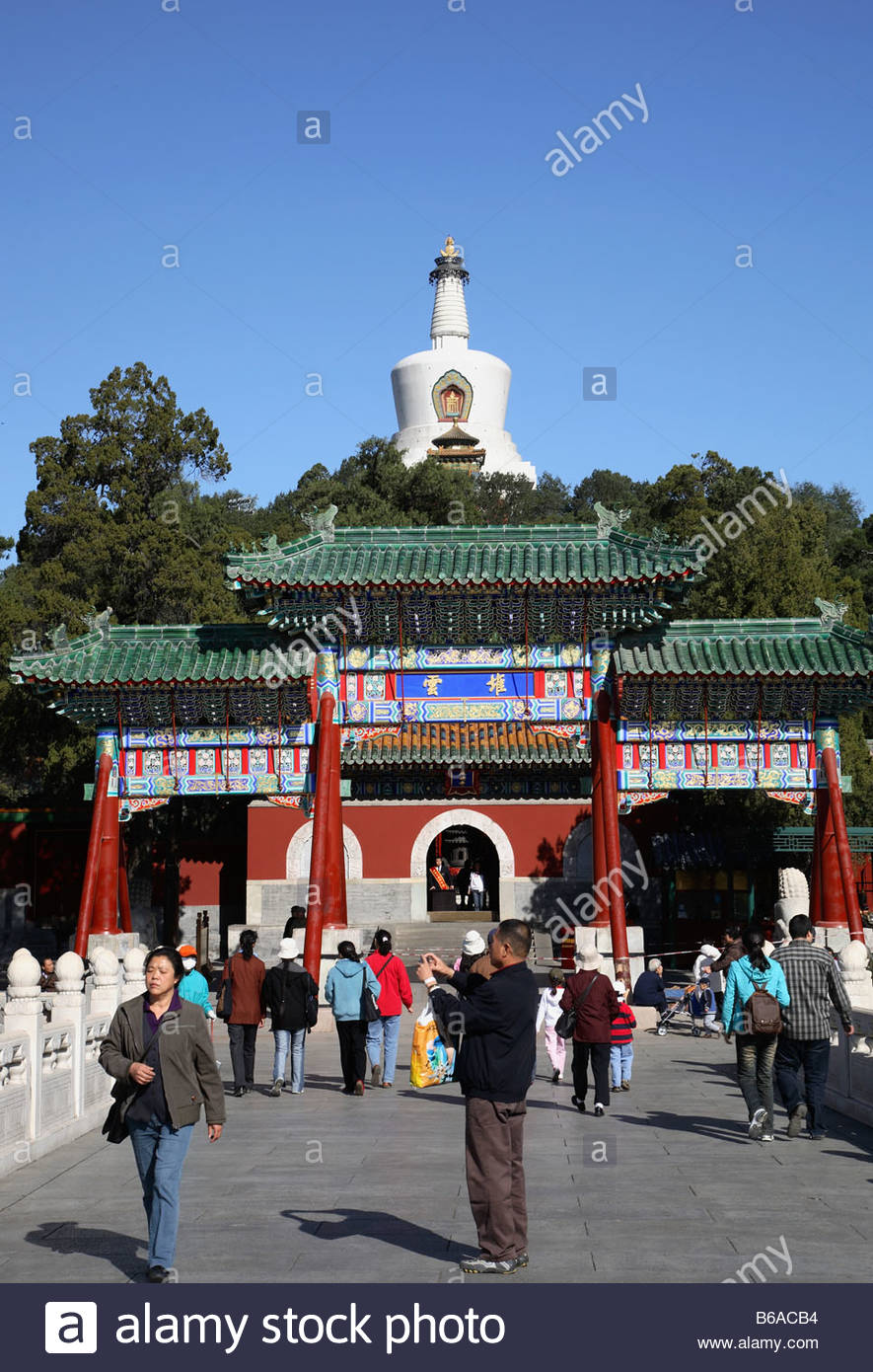 North Heavenly Gate Běijīng, China Beijing Beihai Park White Dagoba people Stock Photo, Royalty ...