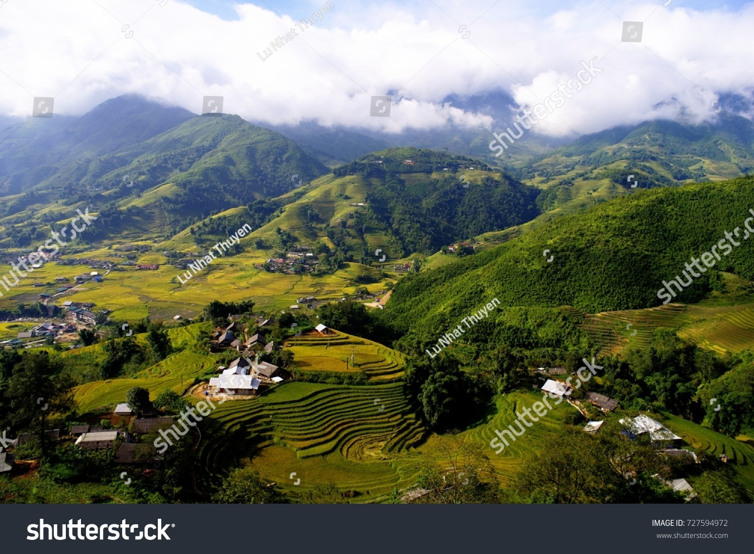 Nui Hoang Lien Nature Reserve The Northwest, Ta Van Village Beautiful Picture Leaning Stock Photo 727594972 ...
