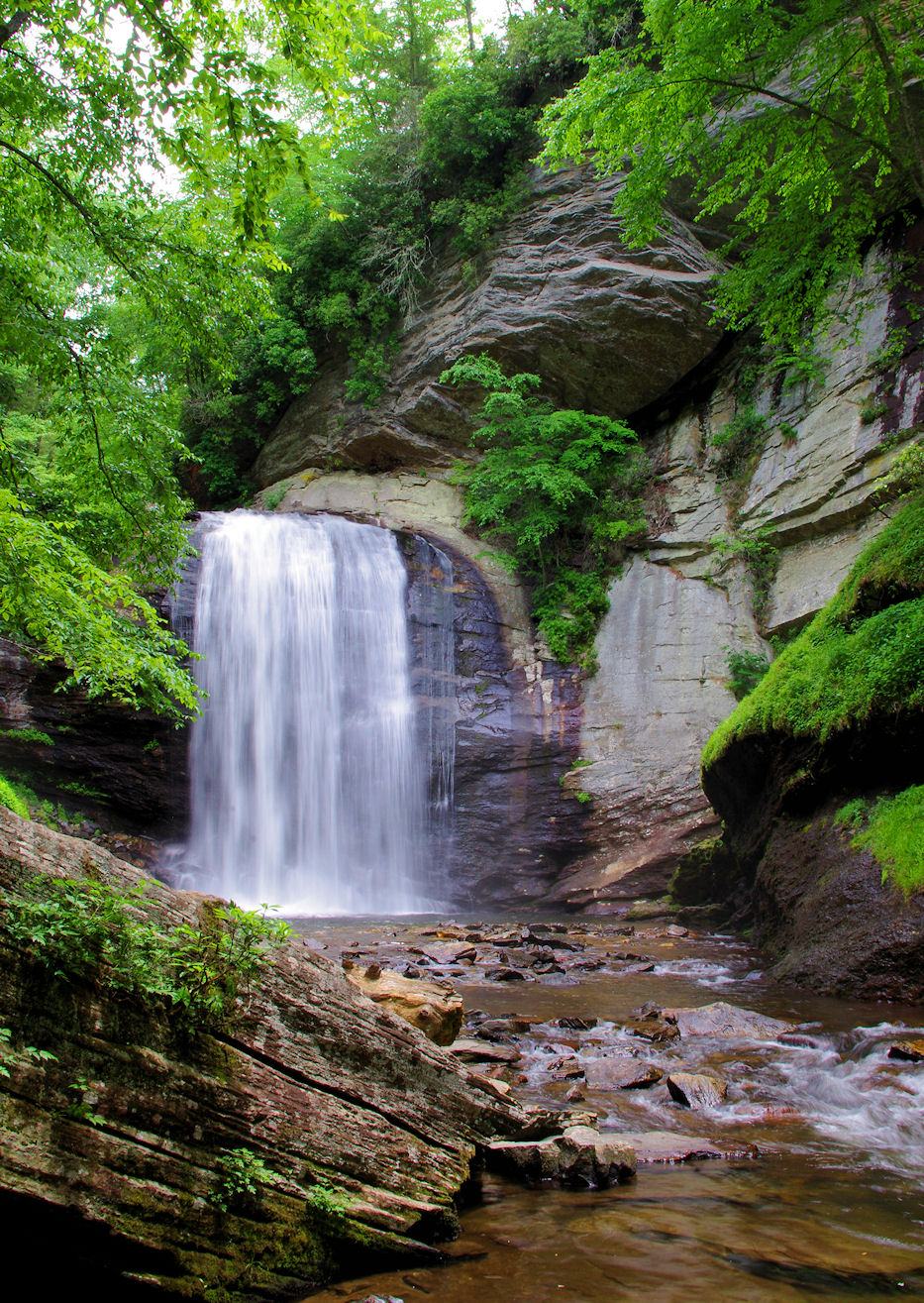 Oconaluftee Indian Village The North Carolina Mountains, Looking Glass Falls in Pisgah National Forest in the North ...