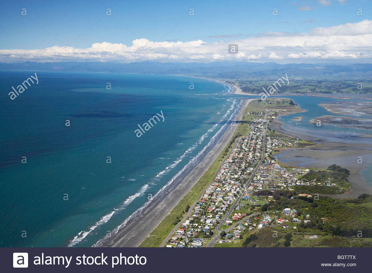 Ohope Beach The Coromandel and the Bay of Plenty, Ohope Beach, Bay of Plenty, North Island, New Zealand - aerial ...