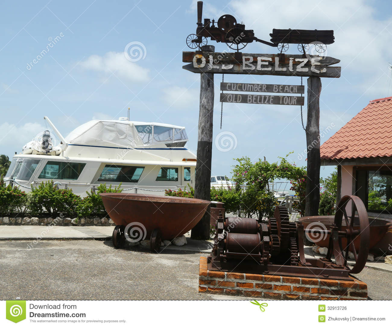 Old Belize Belize City, Old Belize Museum And Cucumber Beach Sign In Belize City Editorial ...