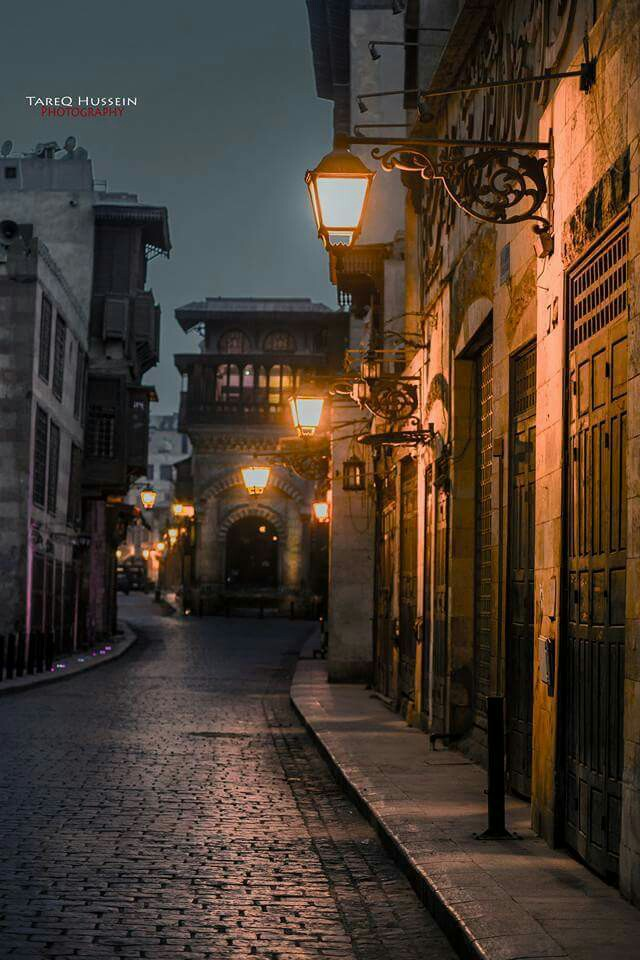Old Red-Light District Cairo, Nighttime street in Old Cairo, Egypt. Tucked away amid the modern ...