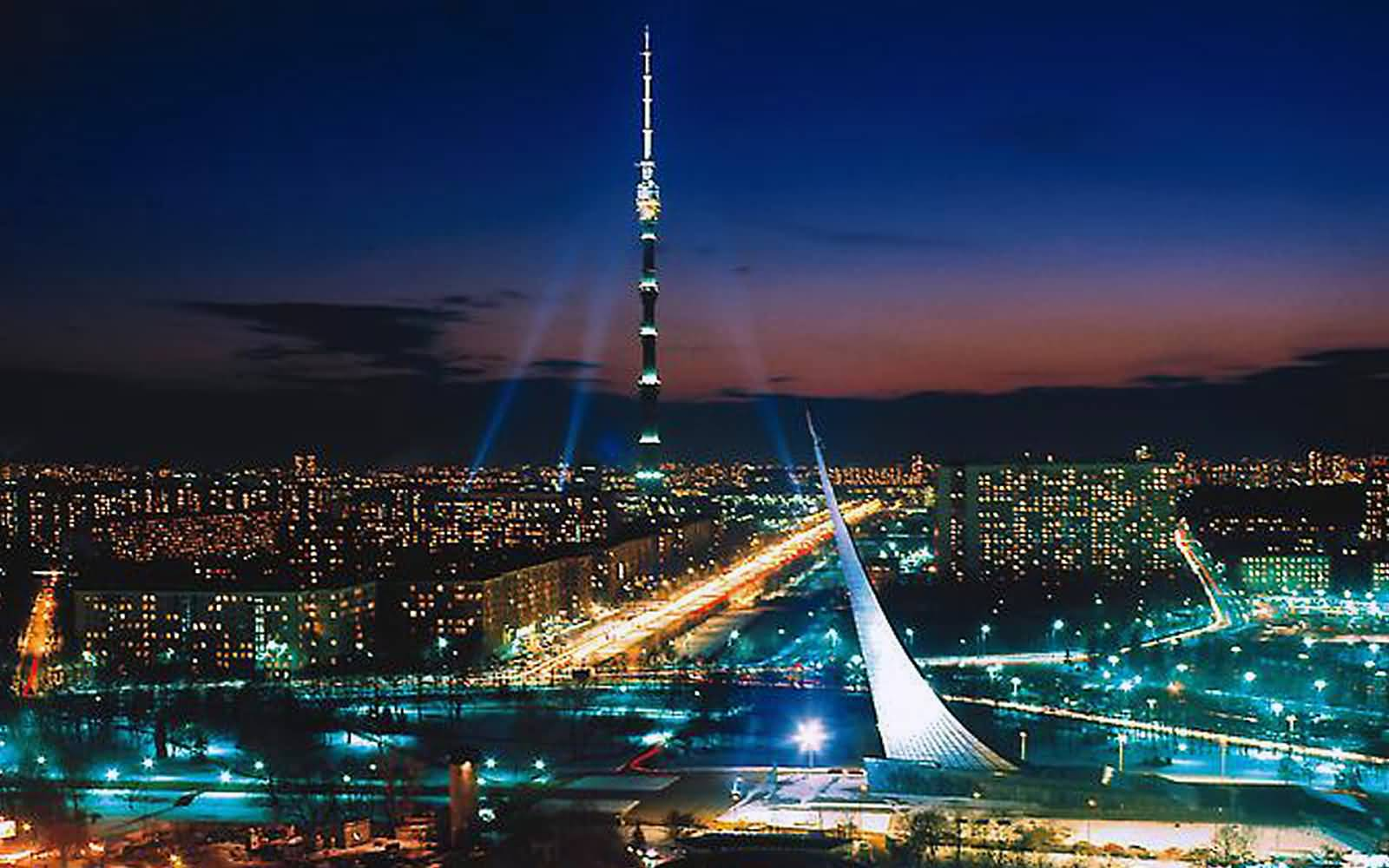 Ostankino TV Tower Moscow, Adorable Night View Of The Ostankino Tower With Moscow City