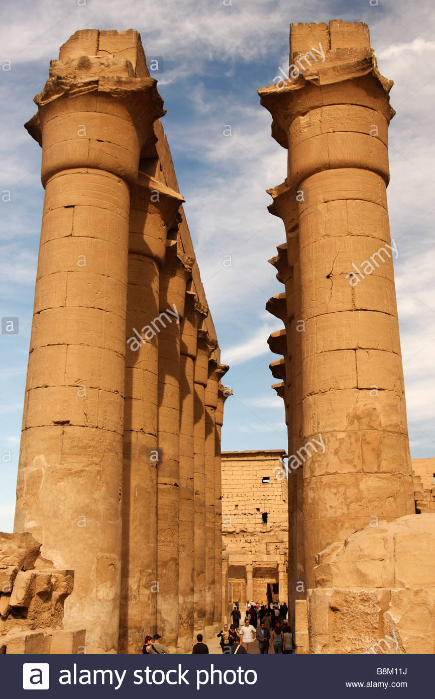 Palace of Amenhotep III Luxor, Egypt, Luxor temple, Colonnade of Amenhotep III, tall stone carved ...