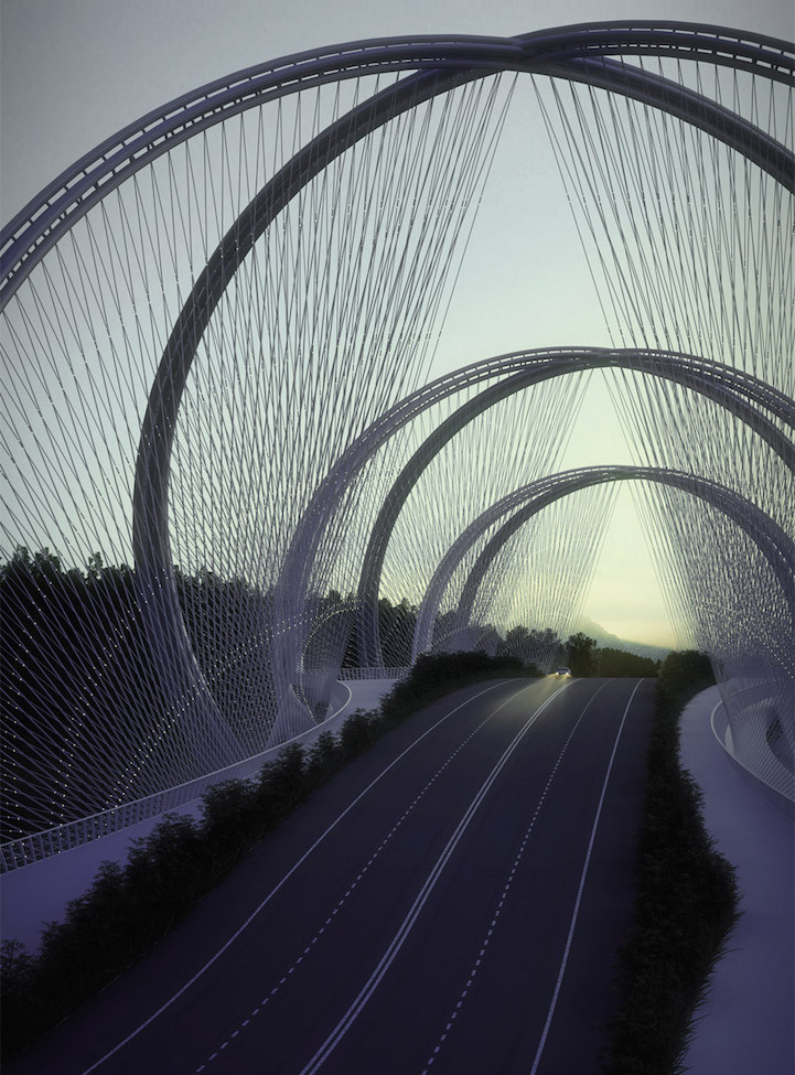 Palace of Eternal Longevity Běijīng, DNA-Shaped Suspension Bridge Inspired by Olympic Games' Five Rings