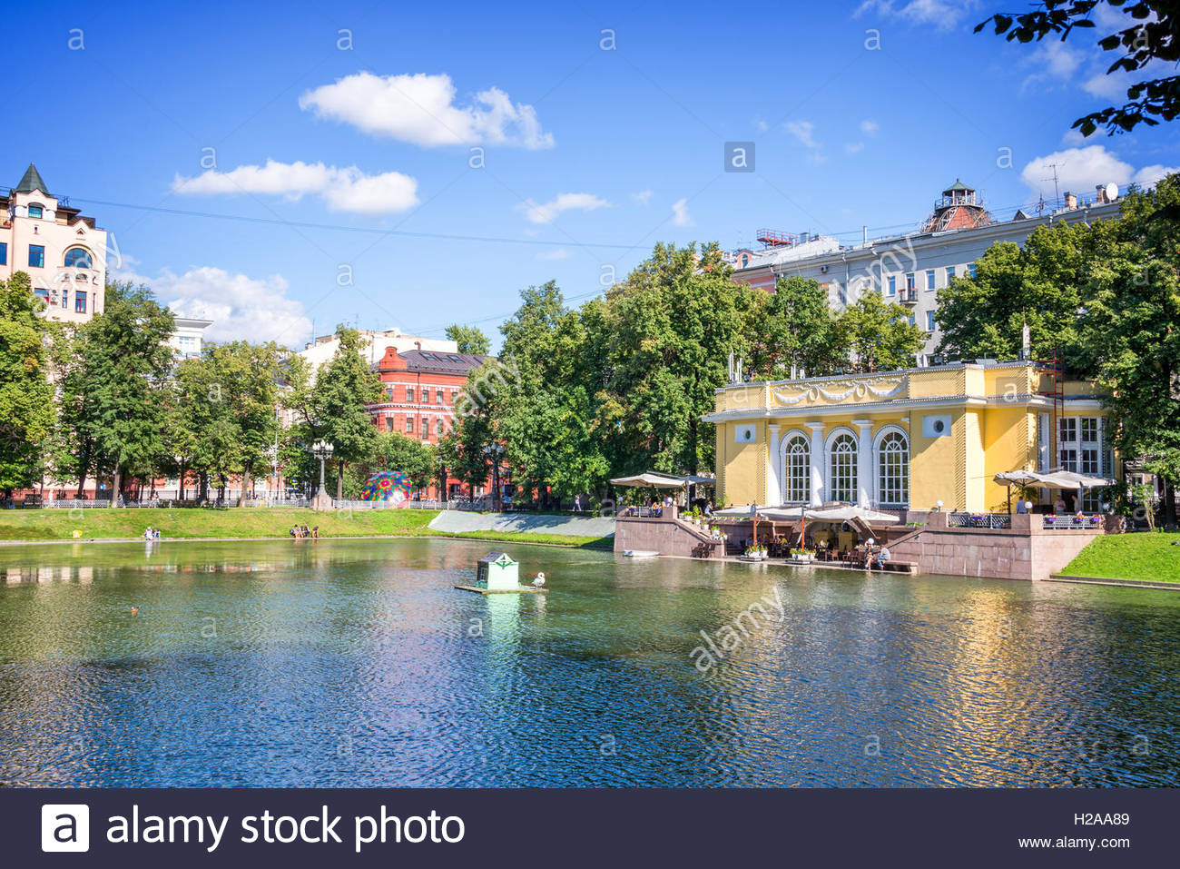 Patriarch's Ponds Moscow, Patriarch pond, Moscow, Russia Stock Photo, Royalty Free Image ...