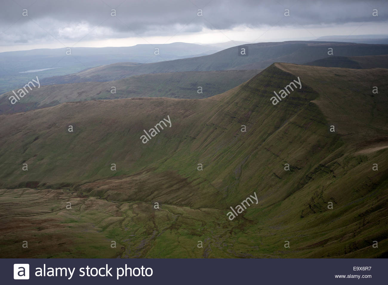 Pen-y-Fan Brecon Beacons National Park, Cribyn view from Pen Y Fan, Brecon Beacons National Park, Wales ...
