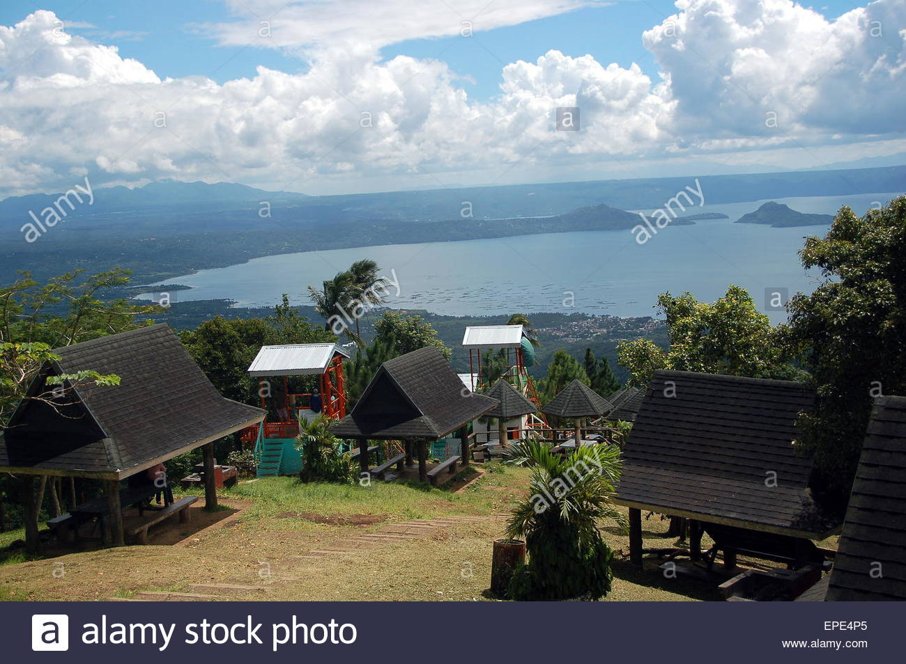 People's Park in the Sky Tagaytay & Lake Taal, A view of the Taal lake from the Peoples' Park in Tagaytay Stock ...