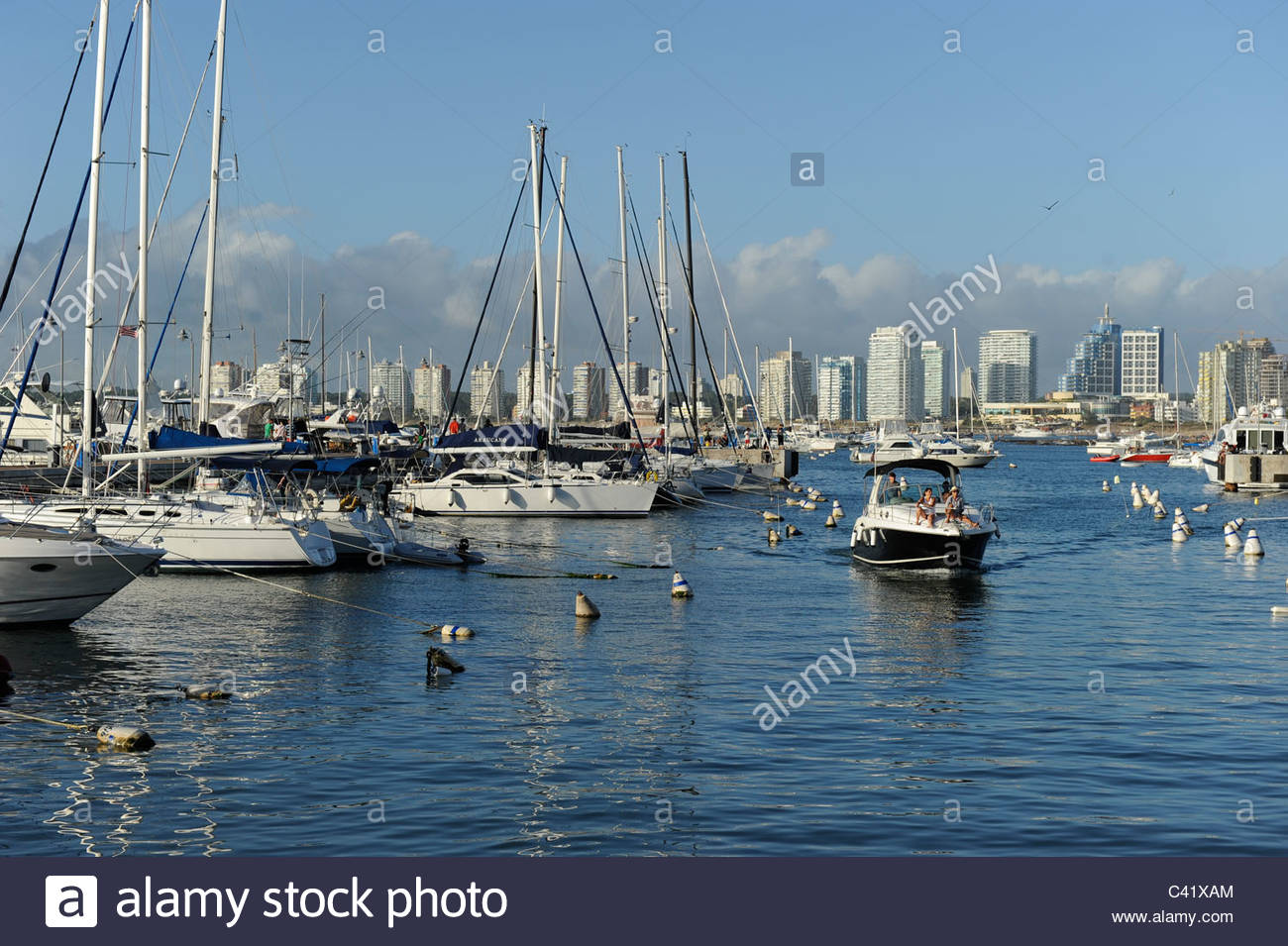 Punta del Este Port Punta del Este, URUGUAY , sea bath Punta del Este, port with yacht Stock Photo ...