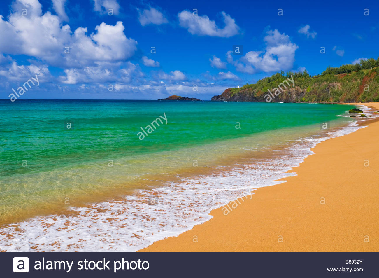 Puu Poa Beach Kauai, Surf sand and blue green waters at Secret Beach Kauapea Beach ...