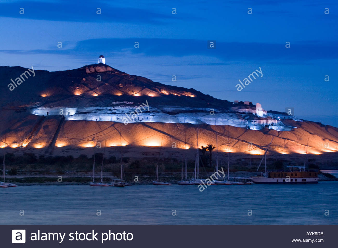 Qubbet Al Hawa Aswan, Tombs of the Nobles at night Qubbet el Hawa Mountain of the wind ...