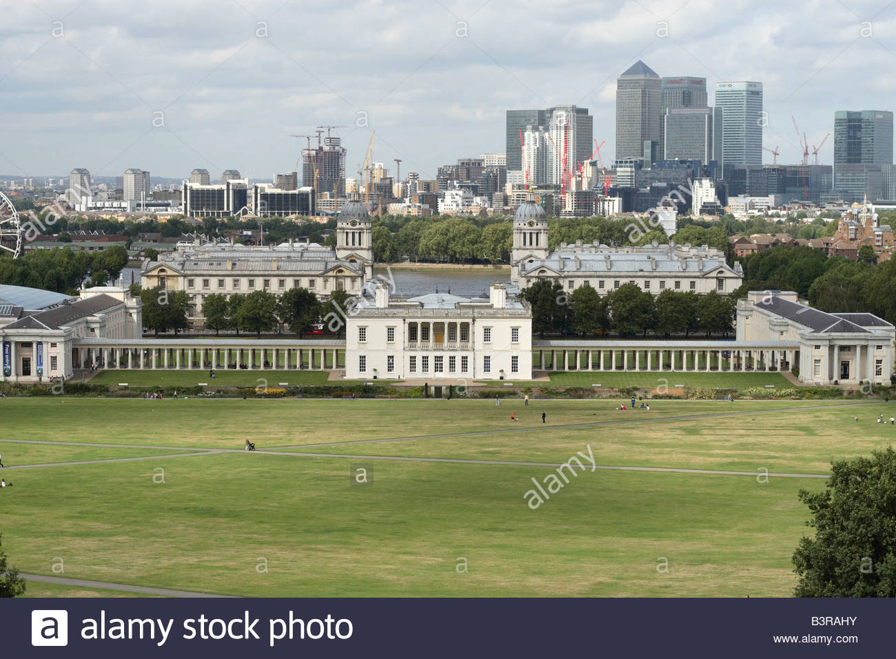 Queen's House London, Greenwich London view from the Royal Observatory hill across to ...