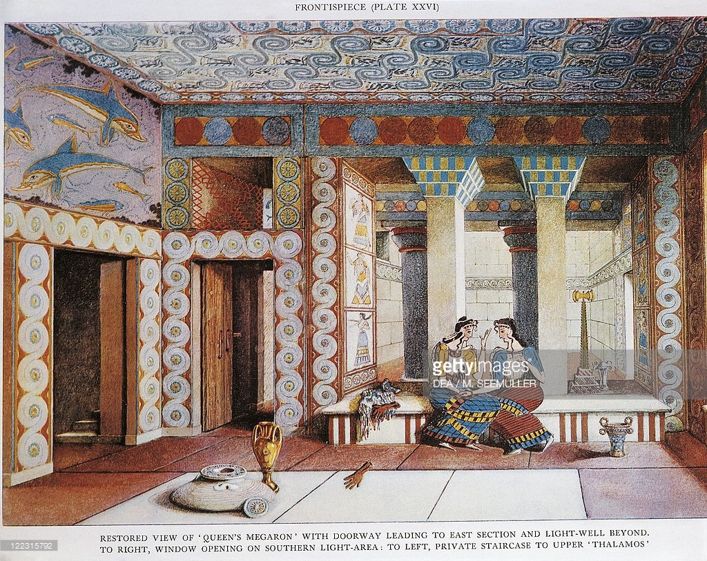Queen's Megaron Knossos, Palace of Minos at Knossos, Queen's Megaron by Sir Arthur John ...