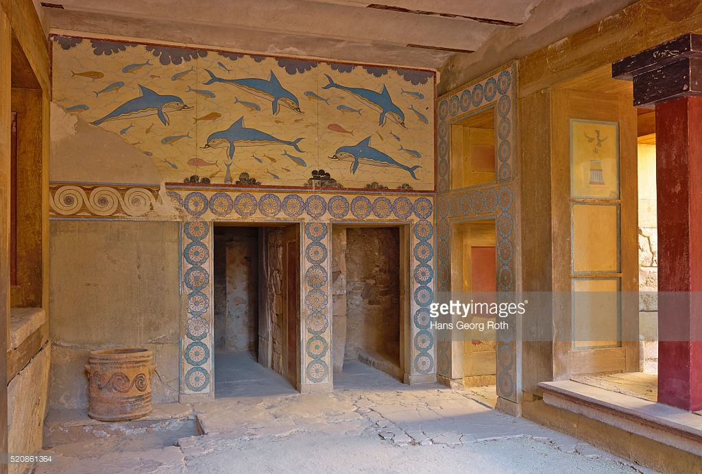 Queen's Megaron Knossos, Knossos Minoan Palace The Queens Megaron Dolphin Fresco Stock ...