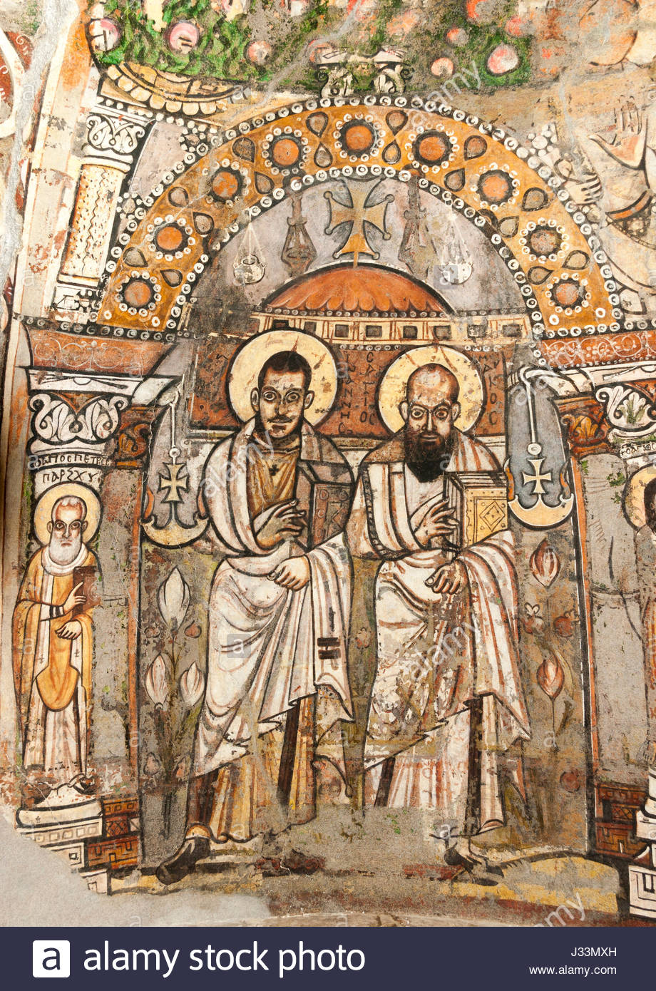 Red Monastery Sohag, late Antique early Christian Wall painting, Red Monastery, Sohag ...