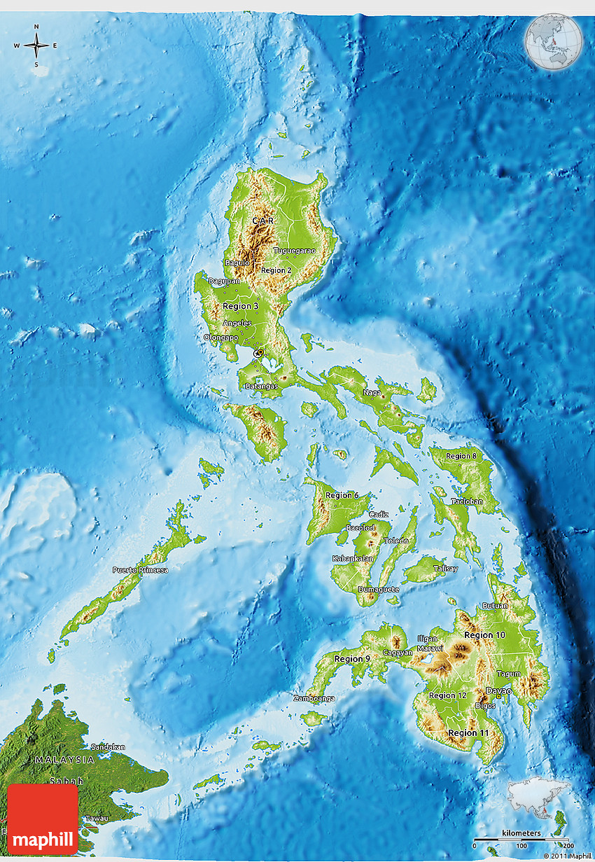 Relief Map of the Philippines Manila, Physical 3D Map of Philippines, satellite outside, shaded relief sea