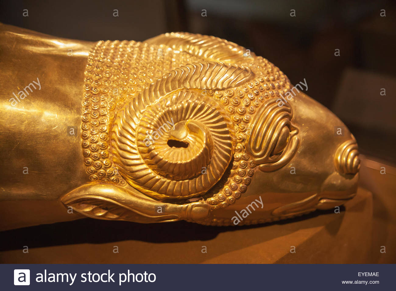 Reza Abbasi Museum Tehran, Rhyton drinking vessel in shape of ram's head, Median period, Reza ...