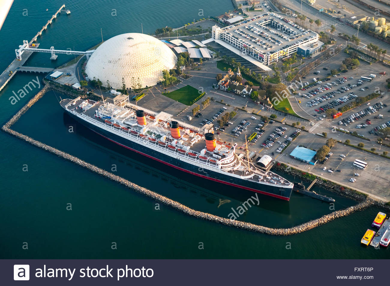 Richard J. Riordan Central Library Los Angeles, Aerial view, RMS Queen Mary, Ocean Liner, Queen Mary Hotel in Long ...